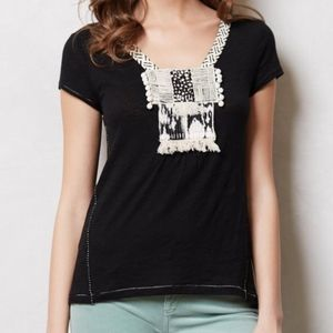 Anthropologie Meadow Rue Black Pom Pom Top Medium